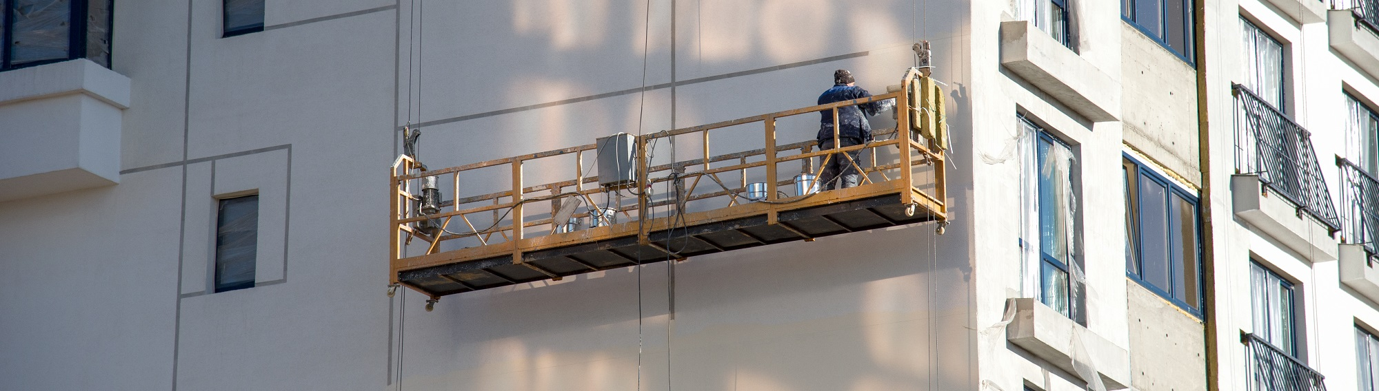 suspended scaffolding system on high rise