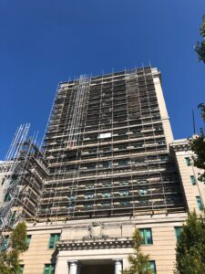 system scaffolding for a project on a historic courthouse